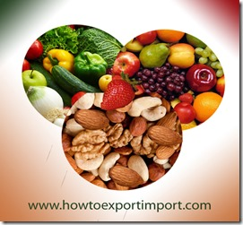 how to import preparations of vegetables,fruits and nuts