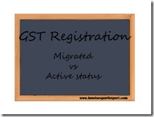 Difference between Migrated and Active status under GST registration in India