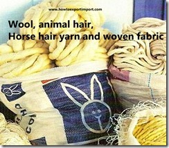 Wool, animal hair, horse hair yarn and woven fabric