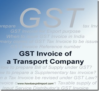 GST Invoice of a Transport Company