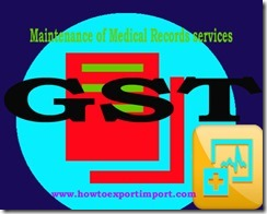 GST rate for Maintenance of Medical Records services