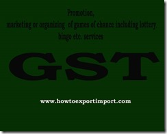 GST rate for Promotion, marketing or organizing of games  services