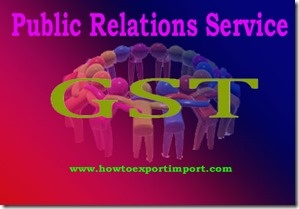 GST tariff for Public relations Services