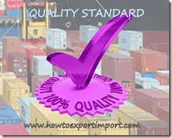 quality standard under import of goods