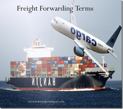 Terms used in freight forwarding such as courier,credit agreement,customs registered number etc
