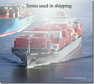Terms used in shipping such as Additional Freight ,Admiralty ,Advance Freight,Advance,Adventure etc