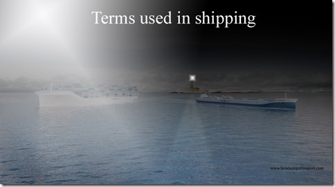Terms used in shipping such as U.S. Affiliate,U.S. Munitions List,Underdeck,Under repair,Unlimited transhipment etc