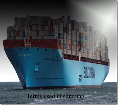 Terms used in shipping such as straight bill of lading,ocean  bill of lading,inland bill