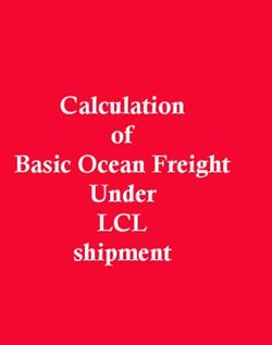 How to Compute Basic Ocean freight under LCL shipment?