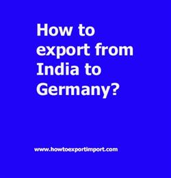 How to export from India to Germany?